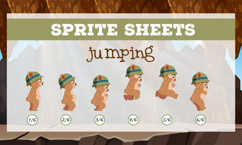 Modèle de saut de feuilles de Sprite vecteur