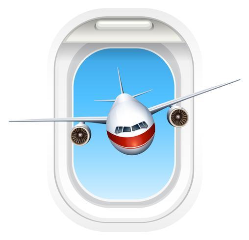 Avion volant à travers la fenêtre vecteur