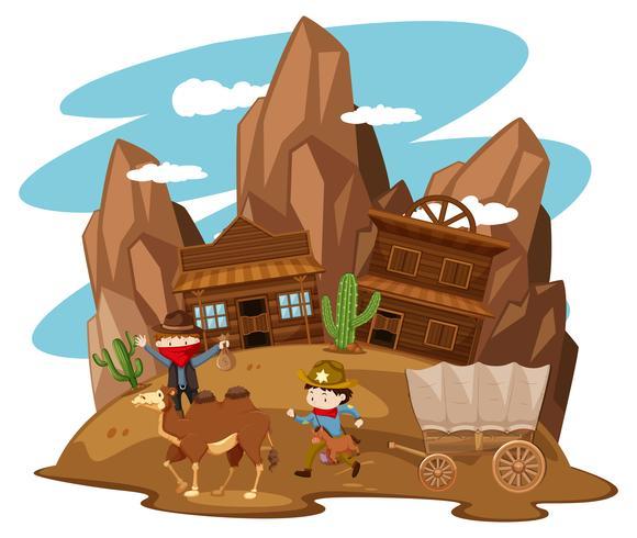 Enfants jouant au cow-boy dans l'ouest de la ville vecteur