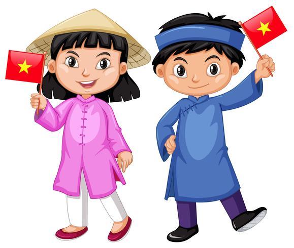 Vietnamien garçon et fille en costume traditionnel vecteur
