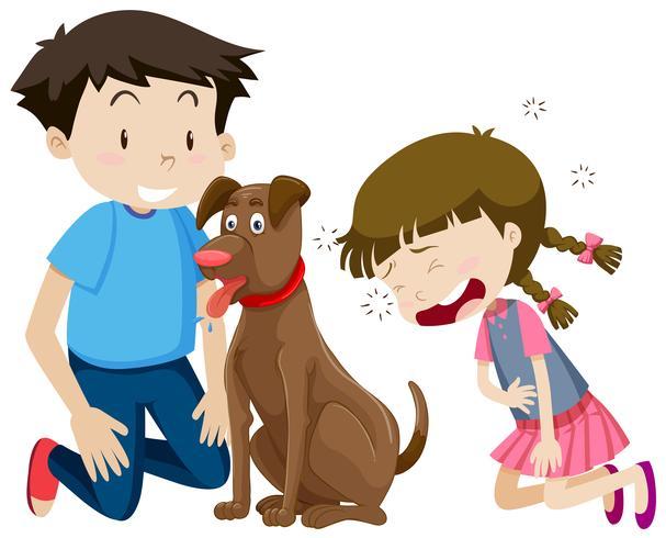 Garçon et fille avec chien vecteur