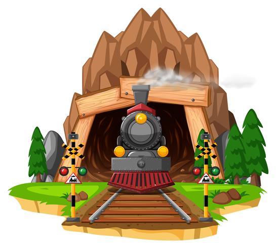 Scène avec locomotive sur chemin de fer vecteur