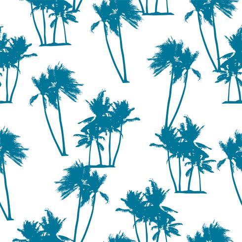 Modèle exotique sans couture avec des silhouettes d'arbres de paume. vecteur