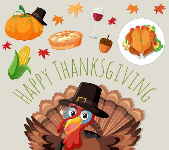 Ensemble de nourriture de Thanksgiving vecteur