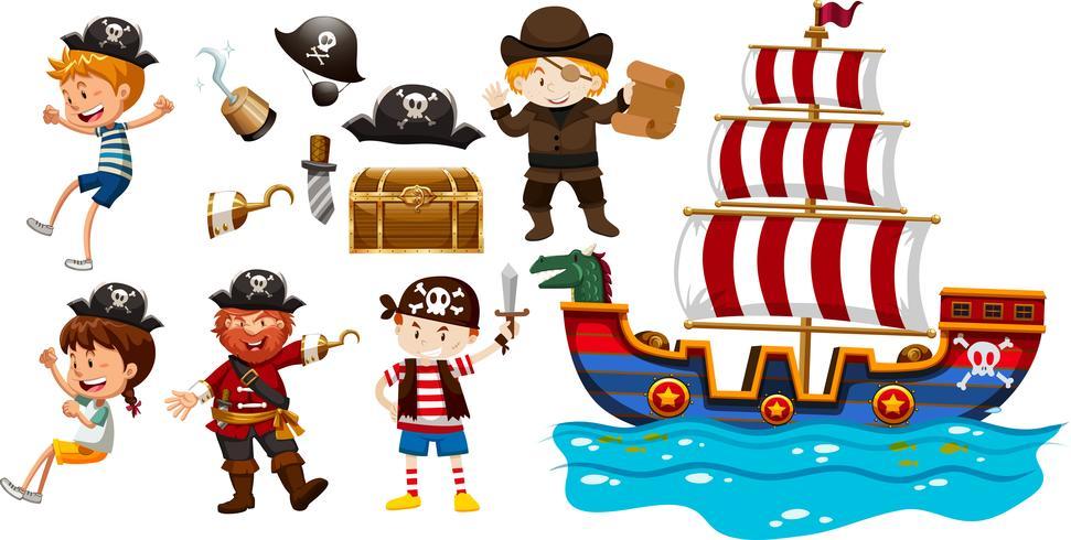 Enfants et bateau viking vecteur