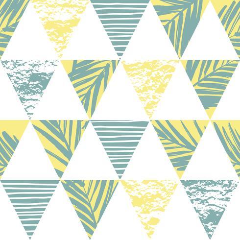 Transparente motif exotique avec des feuilles de palmier sur fond géométrique vecteur