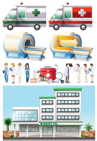Éléments hospitaliers et médicaux vecteur