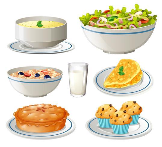 Différents types de nourriture sur des assiettes vecteur