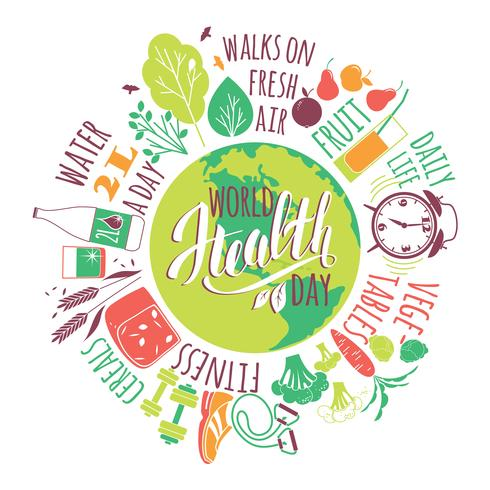 Concept de la journée mondiale de la santé. vecteur