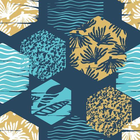 Modèle sans couture tendance mer avec la texture de la main et des éléments géométriques. vecteur