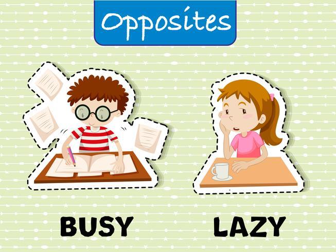 Mots opposés pour occupé et paresseux vecteur