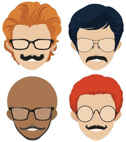Styles hommes et moustaches vecteur