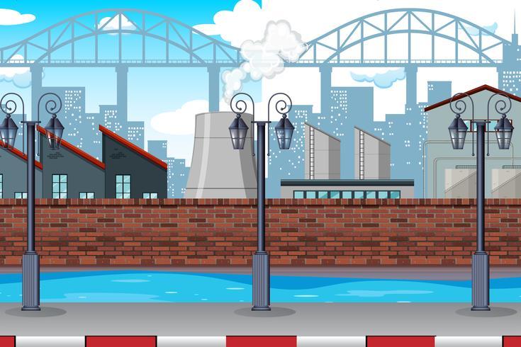 Une scène d'usine urbaine vecteur