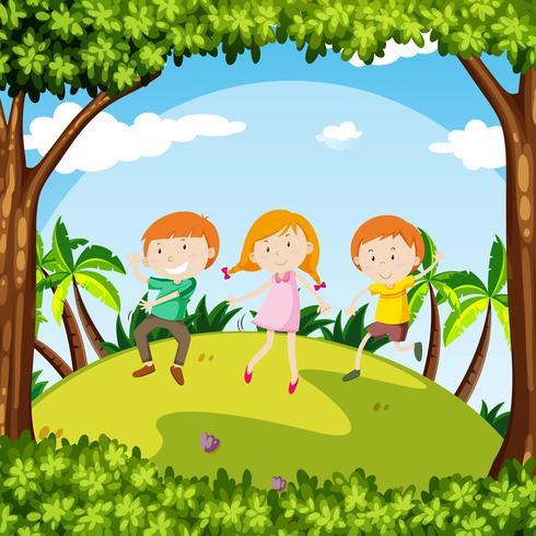 Enfants dansent dans un jardin vecteur
