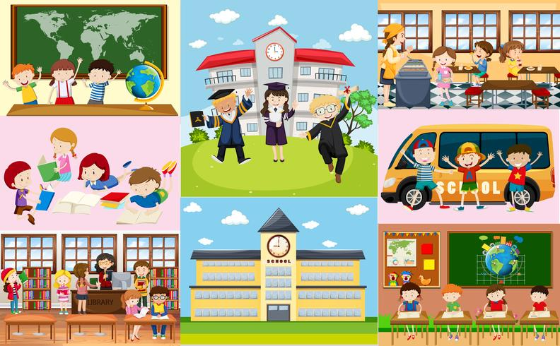 Différentes scènes à l'école avec des étudiants vecteur