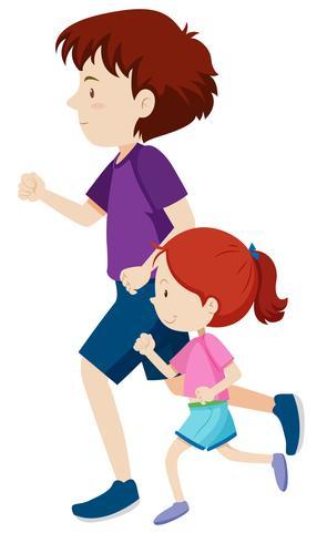 homme et jeune fille sur une course vecteur