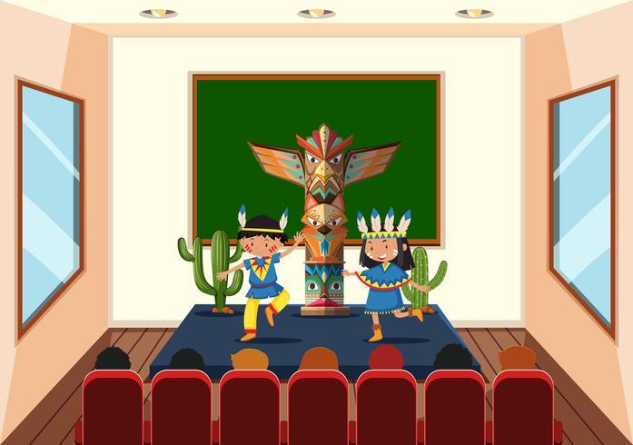 Enfants en cours de danse vecteur