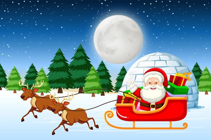 Père Noël en traineau la nuit vecteur