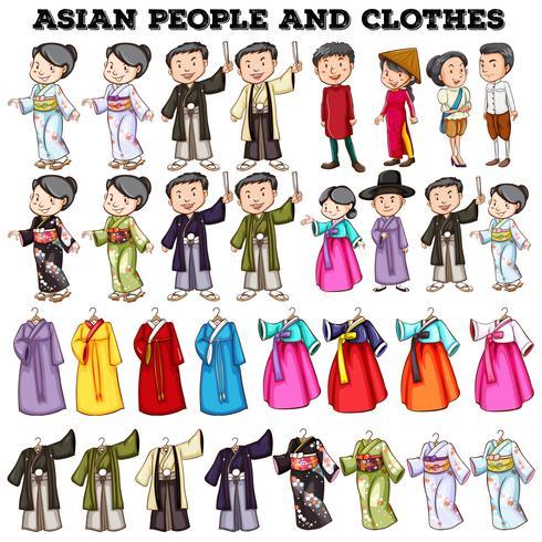 Les asiatiques et les vêtements vecteur