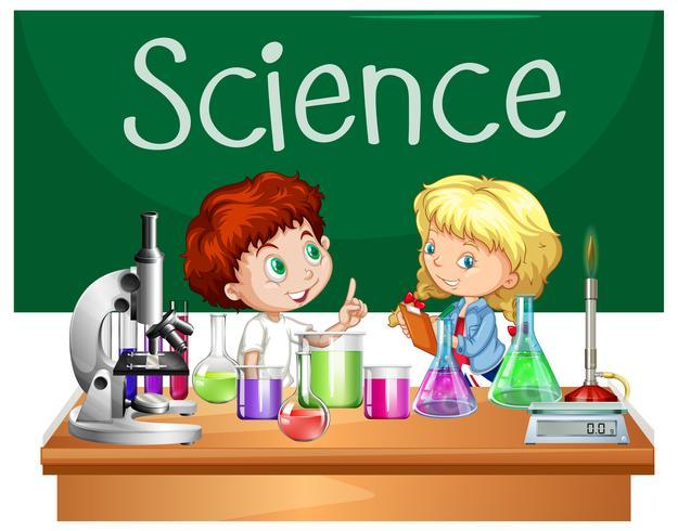 Etudiants en cours de sciences vecteur