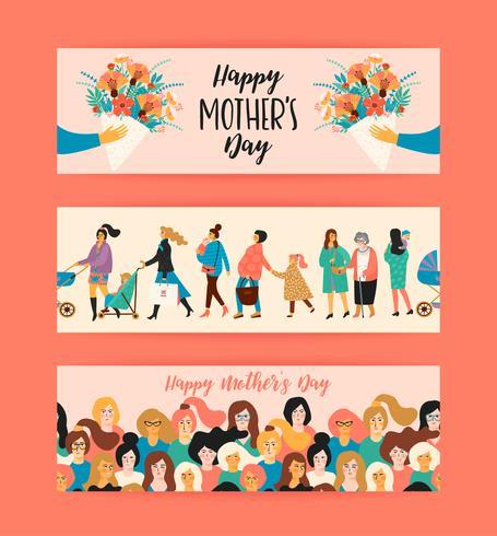 Bonne fête des mères. Modèles de vecteur. vecteur