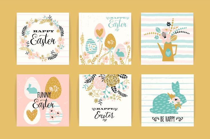 Joyeuses Pâques. Modèles vectoriels avec lettrage vecteur