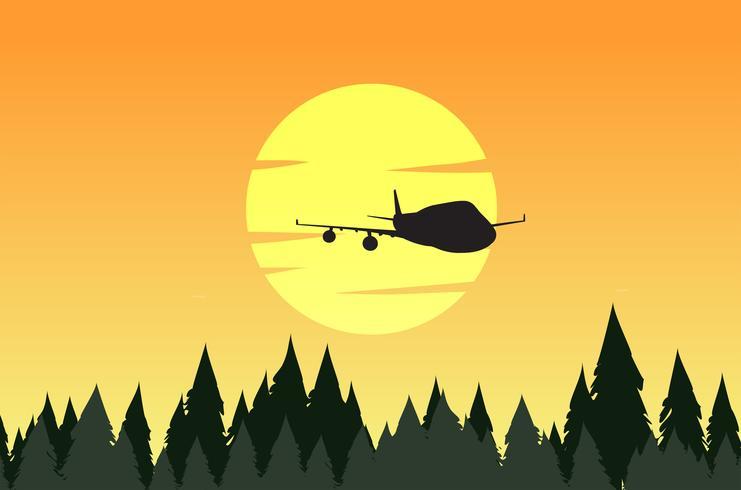 Scène de fond avec silhouette forêt et avion vecteur