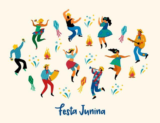 Festa Junina. Illustration vectorielle de drôles d'hommes et de femmes dansant en costumes lumineux. vecteur
