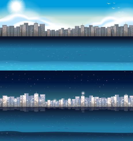 Bâtiments en ville jour et nuit vecteur
