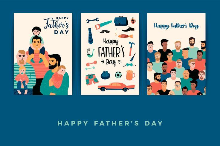 Joyeuse fête des Pères. Modèles de vecteur. vecteur