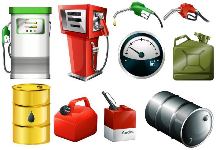 Différents bidons d'essence vecteur