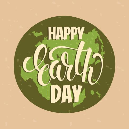 Concept de Jour de la Terre avec lettrage à la main. vecteur