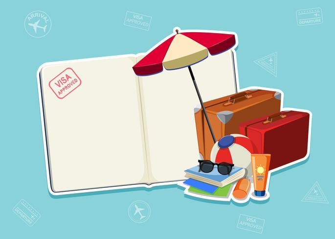 Modèle de page de passeport vierge vecteur