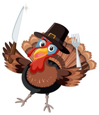 Dinde de Thanksgiving avec des couverts vecteur