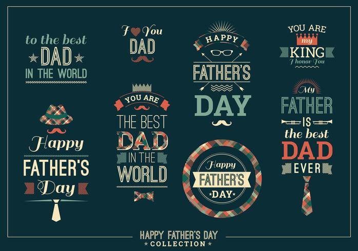 Collection de designs de fête des pères heureux dans un style rétro. vecteur