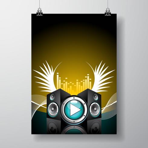 Illustration de flyer pour thème musical avec haut-parleurs et aile vecteur