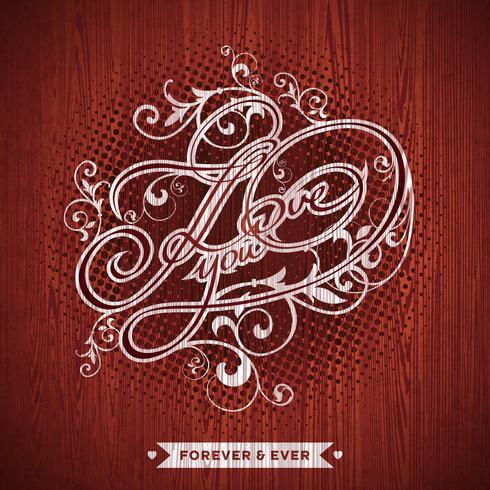 Illustration vectorielle sur le thème de la Saint-Valentin avec la conception typographique Je t'aime vecteur
