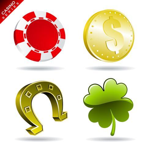 Élément de jeu d'une série de casinos avec jeton, pièce de monnaie, fer à cheval et trèfle. vecteur