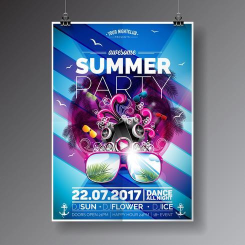 Beach Party Flyer Design avec des éléments typographiques et de la musique sur fond de palmier bleu vecteur