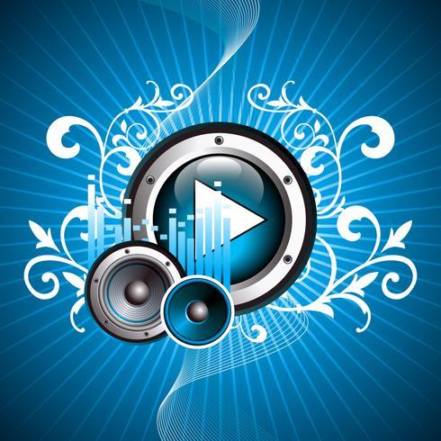 illustration vectorielle pour thème musical avec bouton de lecture et haut-parleurs vecteur