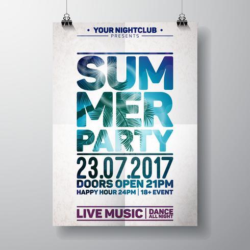 Summer Beach Party Flyer Design avec des éléments typographiques sur le paysage de l'océan vecteur