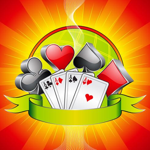 Illustration de jeu avec symboles de casino 3d, cartes et ruban. vecteur