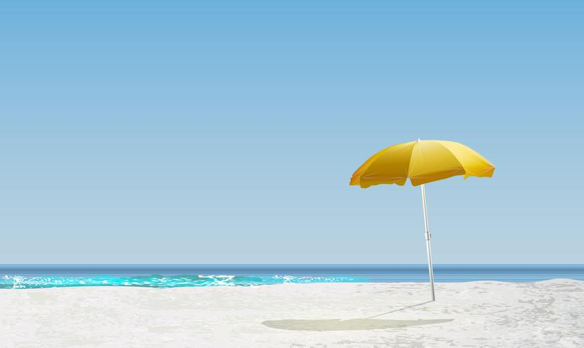 Paysage réaliste d'une plage avec lever / coucher de soleil et un parasol jaune, illustration vectorielle vecteur