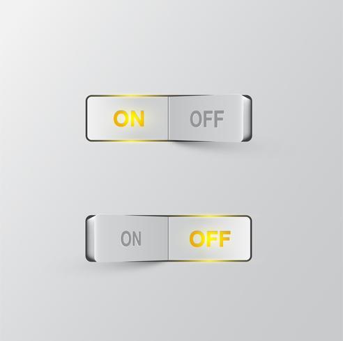 Interrupteurs noirs réalistes (ON / OFF) sur fond noir, illustration vectorielle vecteur