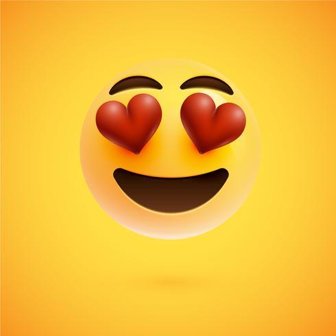 Visage souriant émoticône réaliste jaune, illustration vectorielle vecteur