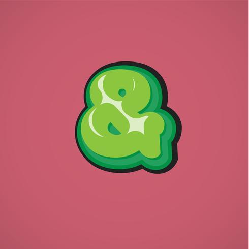 Personnage de bande dessinée verte d'une fontset, illustration vectorielle vecteur
