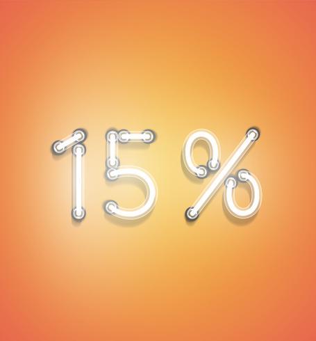 Signe de pourcentage réaliste néon, illustration vectorielle vecteur