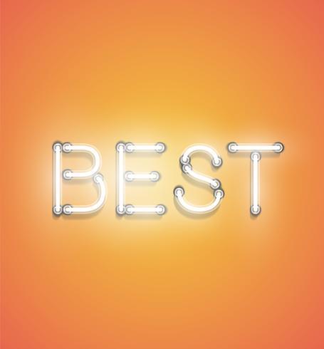 'BEST' - néon réaliste, illustration vectorielle vecteur