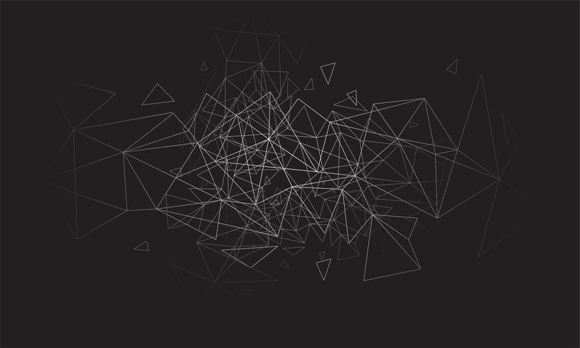 Polygonale abstrait coloré avec points et lignes connectés, structure de connexion, fond hud futuriste, image de haute qualité avec des parties floues vecteur