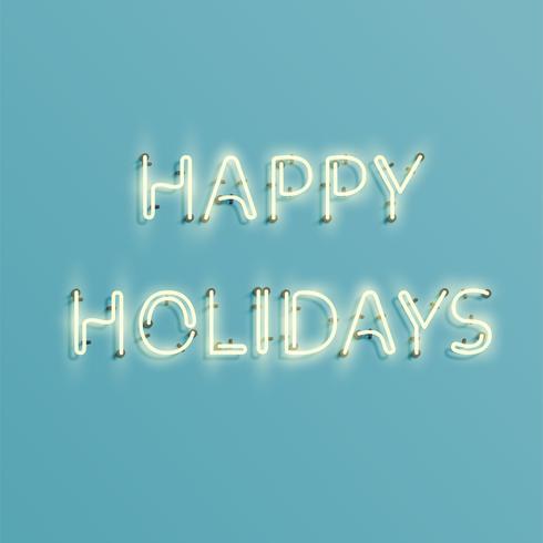 'HAPPY HOLPAY' - néon réaliste, illustration vectorielle vecteur